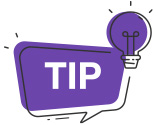 """TIP"" in a purple bubble"